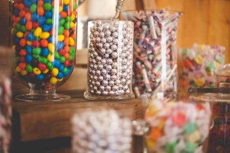Yummy candy buffet displayed on our pretty antique vanity.