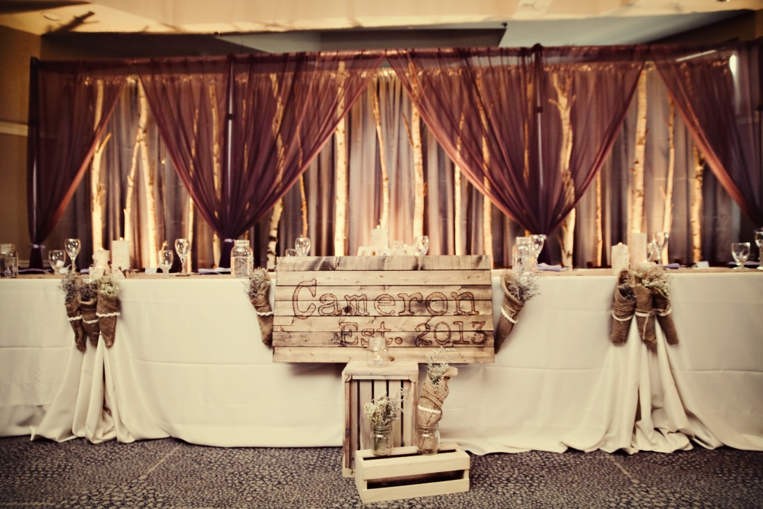 Tammy and Jason's head table with our rustic birch tree backdrop.