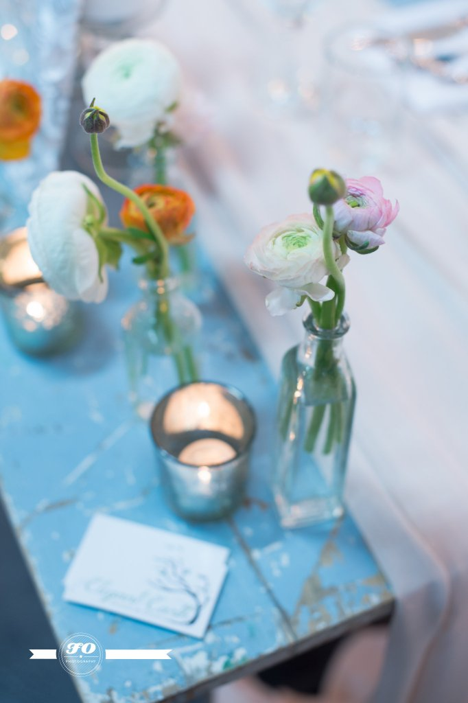 Our favourite flower, the ranunculus, displayed in vials.
