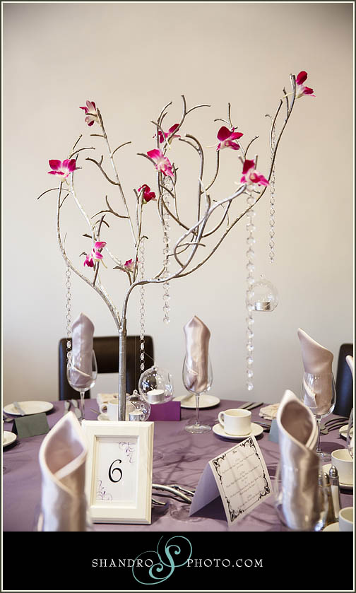 The Glenora has high beam ceilings which called for taller centerpieces. Our silver trees demand attention but don't obstruct the guests view over dinner. We hung glass bulbs with tea lights for a beautiful glow at after dark. We attached fuchsia orchids for a pop of color and crystal strands for sparkle.