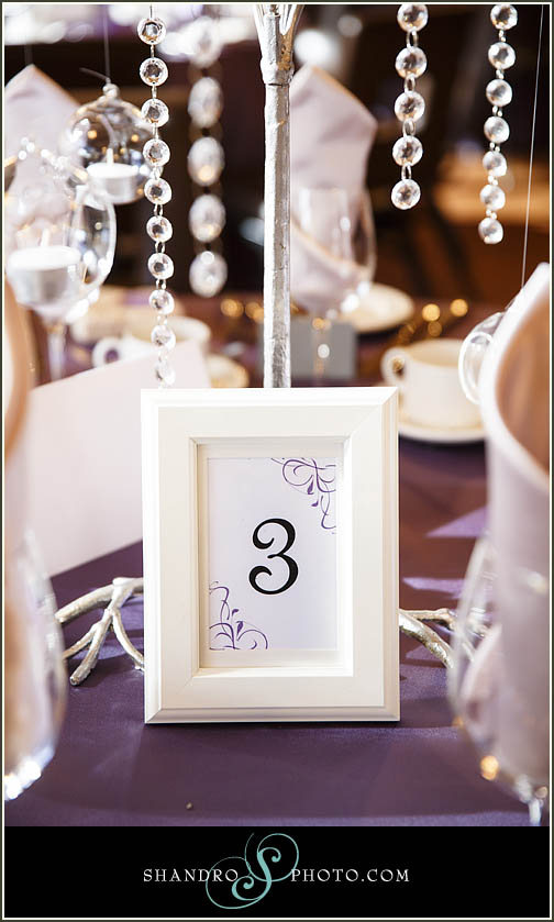 The bride DIY'd the table numbers, which perfectly commented the table decor.