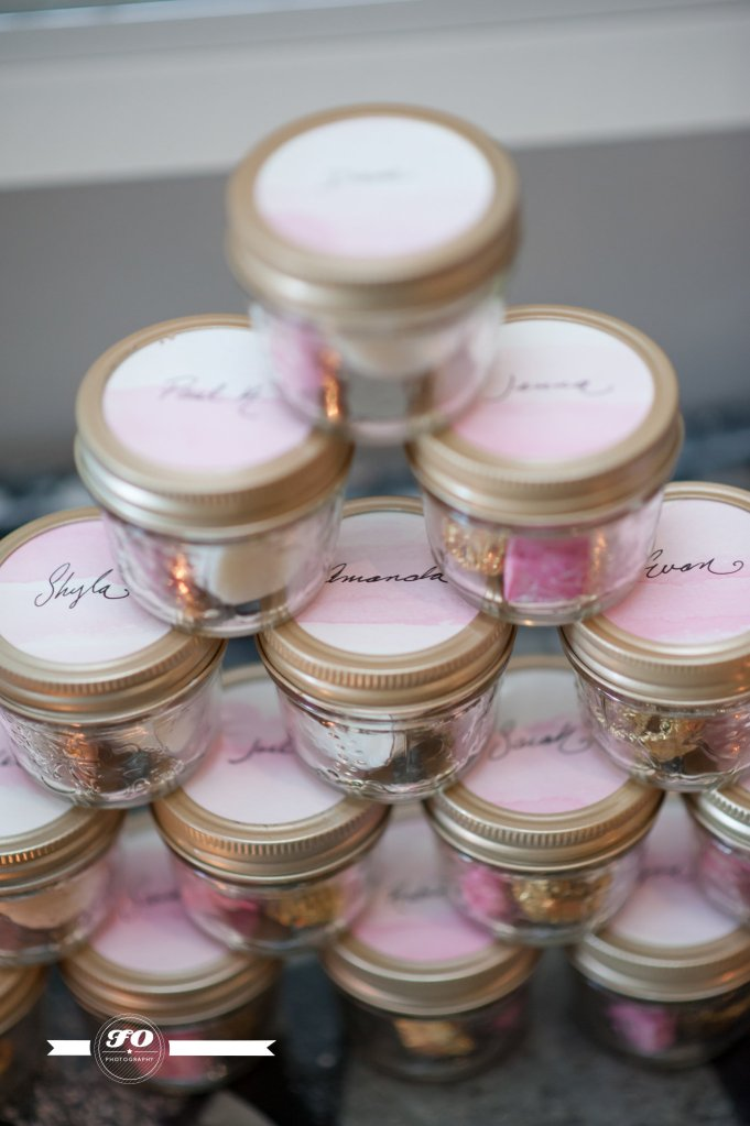 Favours. My few of my favourite things in jars adorned with watercolour and hand-written name tags.